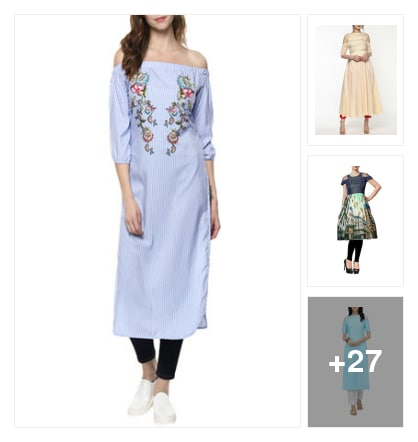 Drop and cold shoulder kurtas. Online shopping look by Vini