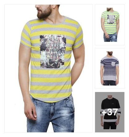 Stripes t shirts for men. Online shopping look by P