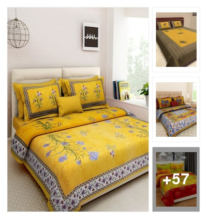 Bedsheets in yellow. Online shopping look by veda