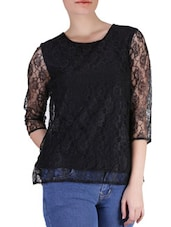 Black Floral Polylace Top - SIERRA