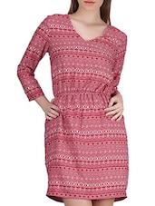 Geometrical Print Three Quarter Sleeve Crepe Dress - SIERRA