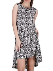 Floral Print Asymmetrical Crepe Dress - SIERRA