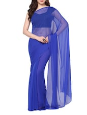 Royal Blue Plain Chiffon Saree - AKSARA