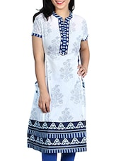 White- Blue Colored Printed Cotton Kurta - By