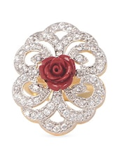 Red Rose American Diamonds Ring - Crunchy Fashion
