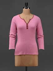 Pink Cotton Knit Full Sleeve T-shirt - Texco