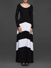 Round Neck Full Sleeves Monochrome Long Dress - Texco