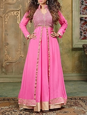 Pink Embroidered Georgette Semi Stitched Anarkali Suit Set -  online shopping for Semi-Stitched Suits