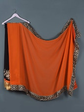 Orange And Black Half And Half Saree - Designerz Hub