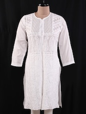 White Chikankari Cotton Tunic - Nazrana