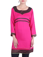 Pink Rayon Regular Kurta - By
