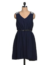 Navy-Blue  Embellished Poly-Crepe Sleeveless Dress - Queens