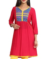 Pink,multi Rayon Regular Kurta - By
