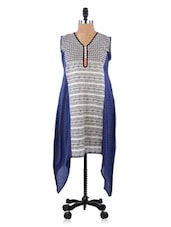 Blue & White Asymetric Cotton Kurti - Morpunc