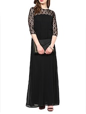 Black Three-quarter Sleeves Lace Maxi Dress - La Zoire