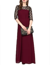 Three-quarter Sleeves Lace Maxi Dress - La Zoire