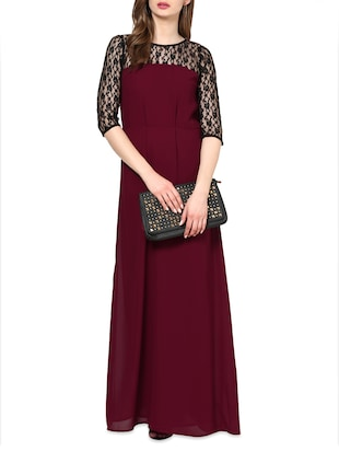 three-quarter Sleeves Lace maxi dress -  online shopping for Dresses