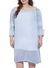 Sky Blue Colored Georgette  Shift Dress - By