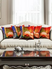 Multi Colour Cotton Set Of 5 Cushion Cover - By