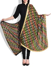 Black, Multi Silk Plain  Dupatta - By
