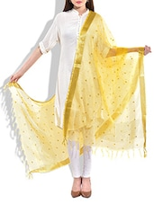 Yellow, Fuchsia Poly Chiffon, Lace Dupatta - By
