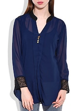 Navy Blue, Black Polygeorgette, Lace Fabric Top - By