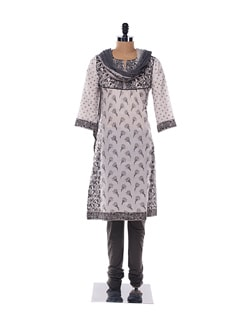 Black and grey block printed kurta with crinkled dupatta - KILOL