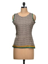 Round Neck Sleeveless Printed Top - Shabari