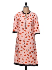Quarter Sleeves Lips Printed Polycrepe Kurta - Free Living