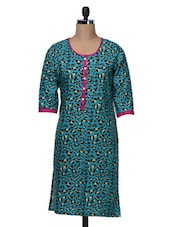 Quarter Sleeves Animal Print Polycrepe Kurta - Free Living