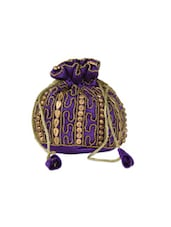 Purple With Golden Beaded Potli Bag - Anshul Fashion