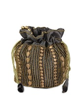 Grey With Golden Beaded Potli Bag - Anshul Fashion