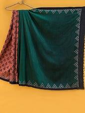 Rust And Green Matka Silk Saree - Kamaniya