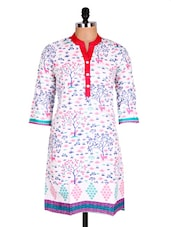 White & Pink Printed Cotton Kurti - Sale Mantra