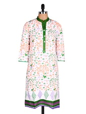 White & Green Printed Cotton Kurti - Sale Mantra