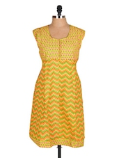 Yellow Chevron Printed Cotton Kurti - Sale Mantra