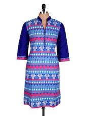 Blue Aztec Printed Cotton Kurti - Sale Mantra