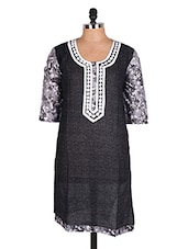 Black Floral Printed Cotton Kurti - Sale Mantra