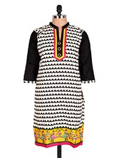 White & Black Geometric Print Cotton Kurti - Sale Mantra