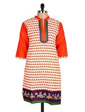 White & Orange Geometric Print Cotton Kurti - Sale Mantra