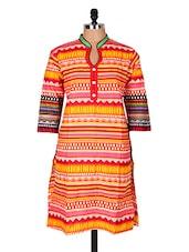 Multicolour Aztec Printed Cotton Kurti - Sale Mantra
