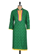 Green Paisley Printed Cotton Kurti - Sale Mantra