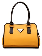Yellow & Black  Leatherette Handbag - FOSTELO