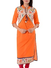 Orange & White Cotton Kurta - By