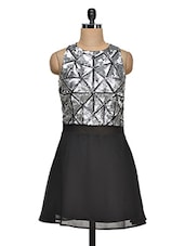Sequined Geometric Pattern Sleeveless Dress - Ozel Studio