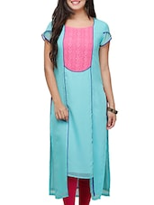 Turquoise & Pink Georgette High Low Kurta - By