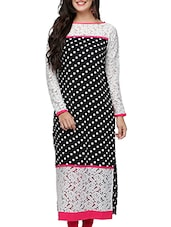 Black & White Poly Crepe Long  Kurta - By
