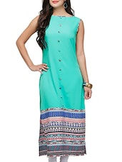 Sea Green Poly Crepe Long  Kurta - By