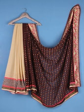 Brown And Beige Georgette Embroidered Saree - Viva N Diva