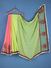 Green And Pink Georgette Embroidered Saree - Viva N Diva